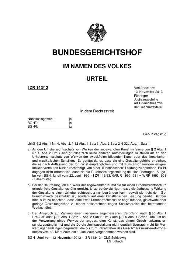 BUNDESGERICHTSHOF  IM NAMEN DES VOLKES  URTEIL  I ZR 143/12 Verkündet am: 13. November 2013 Führinger Justizangestellte al...