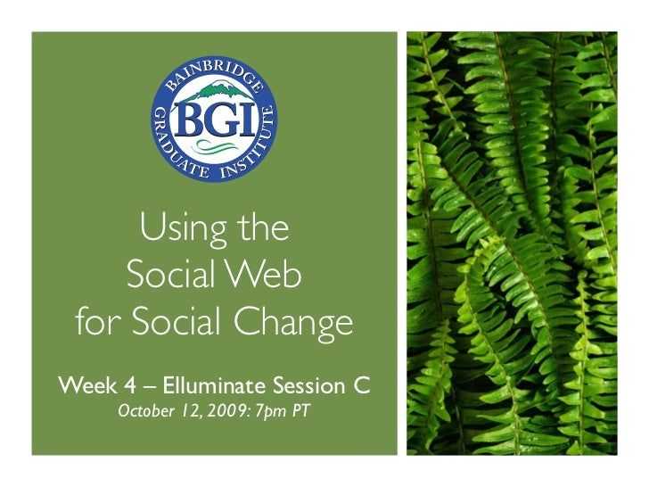 Using the      Social Web  for Social Change Week 4 – Elluminate Session C      October 12, 2009: 7pm PT