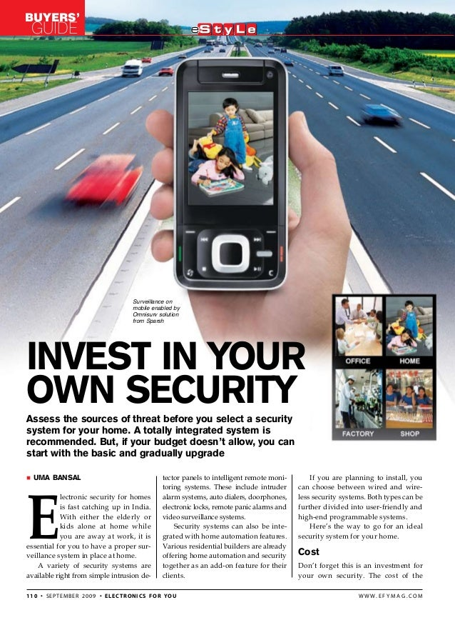 Buyers' Guide 110 • september 2009 • electronics for you w w w . e f y m a g . c o m Assess the sources of threat before y...