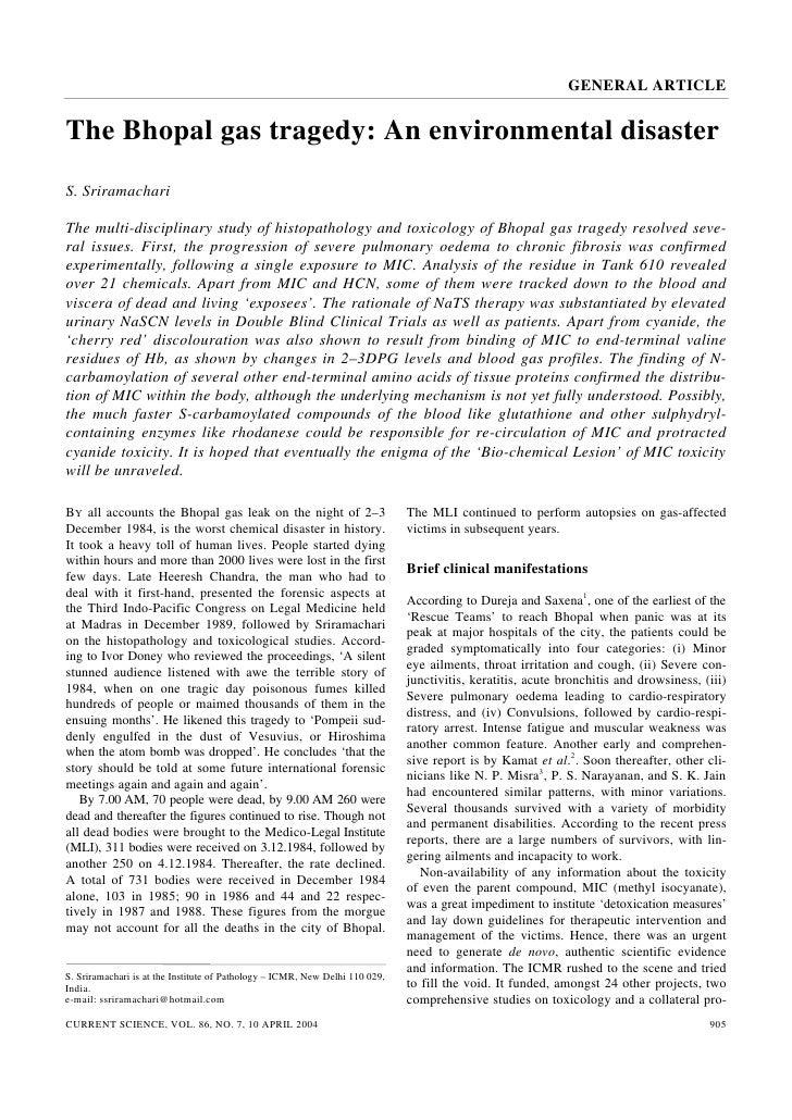 GENERAL ARTICLEThe Bhopal gas tragedy: An environmental disasterS. SriramachariThe multi-disciplinary study of histopathol...