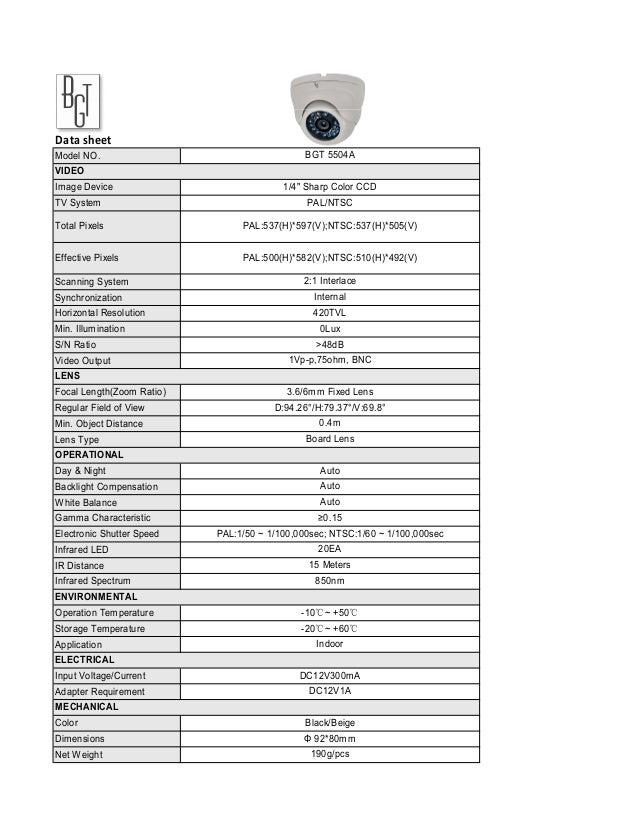 "Data sheetModel NO.                                     BGT 5504AVIDEOImage Device                             1/4"" Sharp ..."