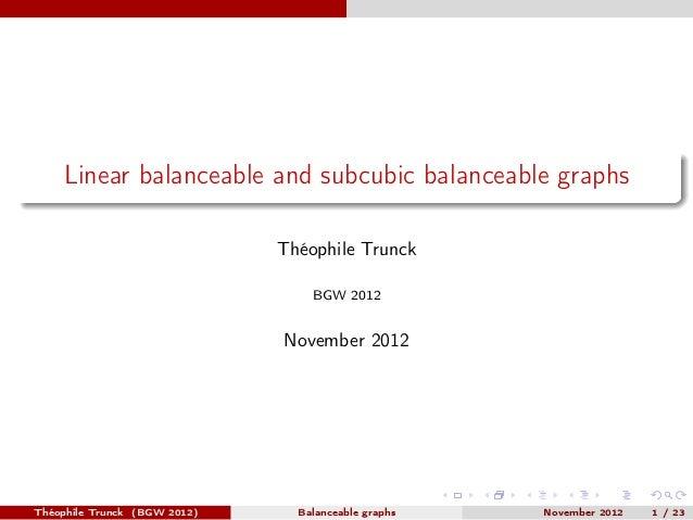 Linear balanceable and subcubic balanceable graphs                              Théophile Trunck                          ...