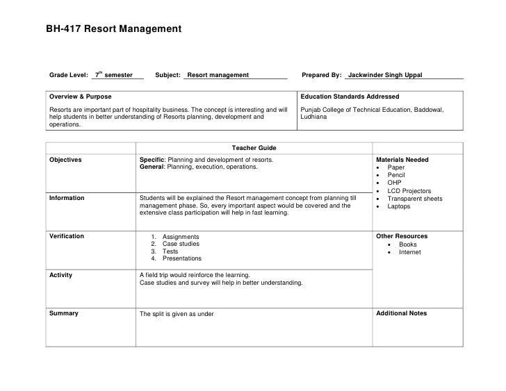 BH-417 Resort Management                      th Grade Level:    7 semester            Subject:    Resort management      ...
