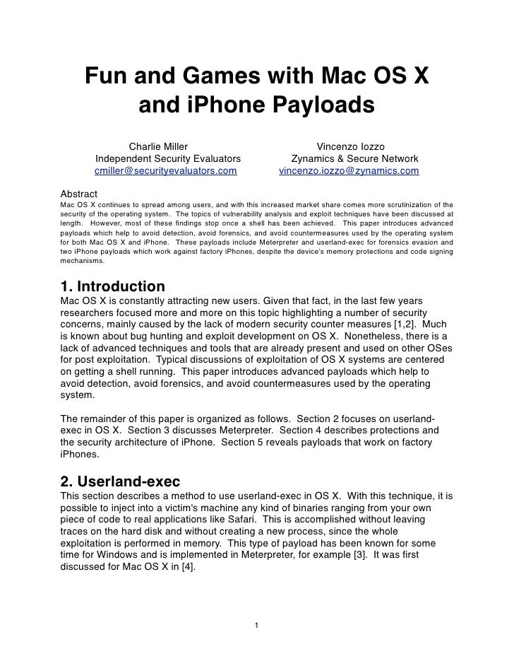 Fun and Games with Mac OS X            and iPhone Payloads                   Charlie Miller                               ...
