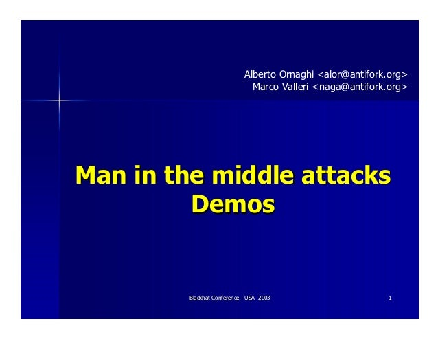 Blackhat Conference - USA 2003Blackhat Conference - USA 2003 11Man in the middleMan in the middle attacksattacksDemosDemos...
