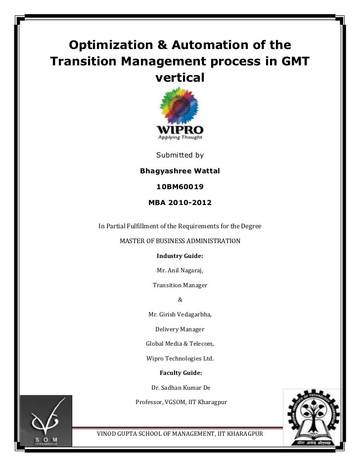 Optimisation & automation of the Transition Mgmt Process at WIPRO-GMT