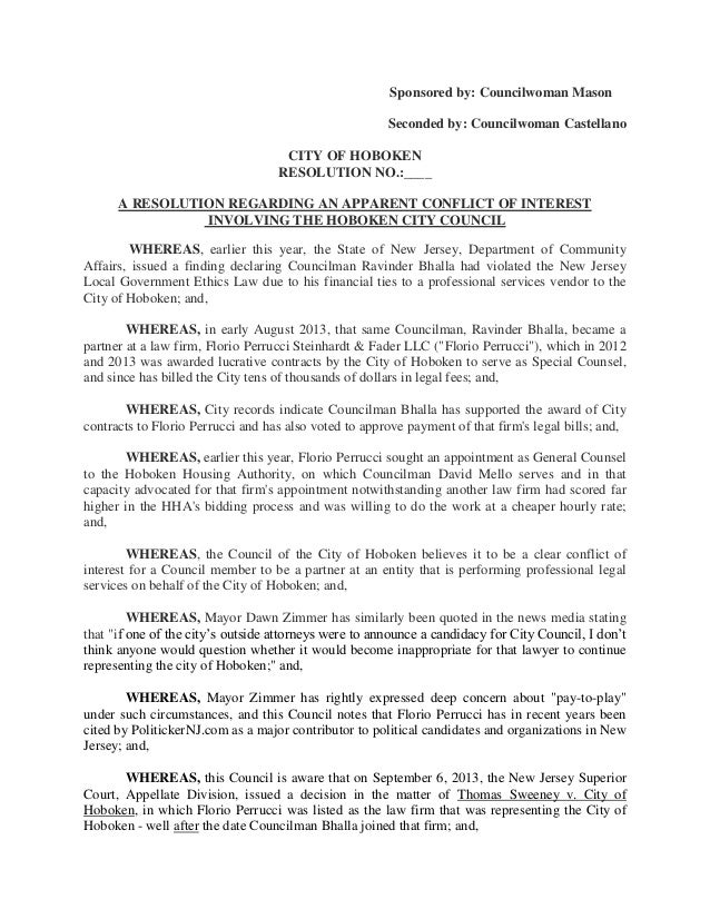 Sponsored by: Councilwoman Mason Seconded by: Councilwoman Castellano CITY OF HOBOKEN RESOLUTION NO.:____ A RESOLUTION REG...