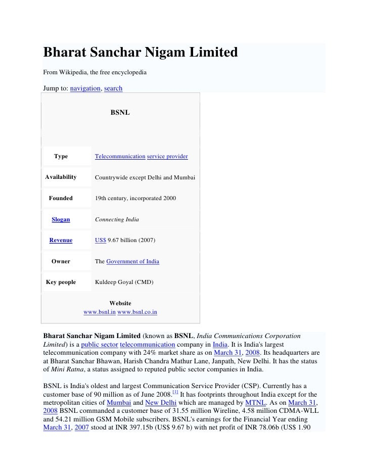 Bharat Sanchar Nigam Limited From Wikipedia, the free encyclopedia  Jump to: navigation, search                           ...