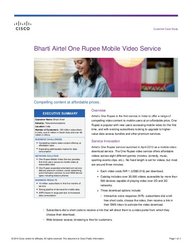 Bharti Airtel One Rupee Mobile Video Service