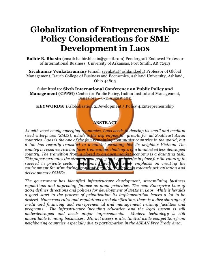 Globalization of Entrepreneurship:     Policy Considerations for SME          Development in Laos Balbir B. Bhasin (email:...