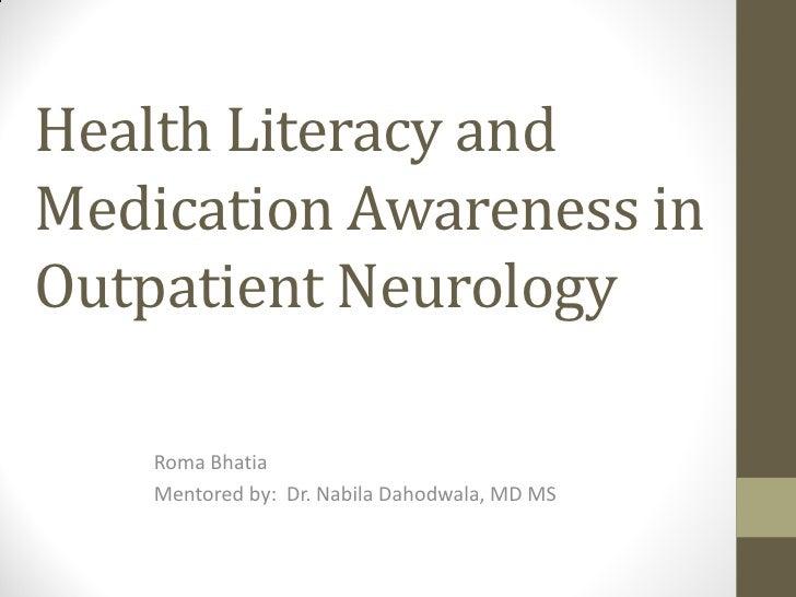Health Literacy in Neurology Patients
