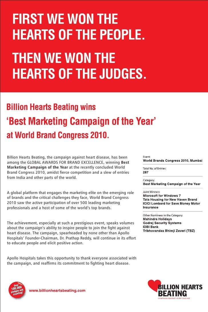 Apollo Hospitals' Billion Hearts Beating wins Campaign of the Year Award at the World Brand Congress 2010