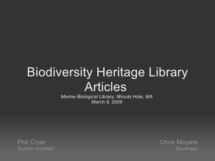 Biodiversity Heritage Library Articles Demo