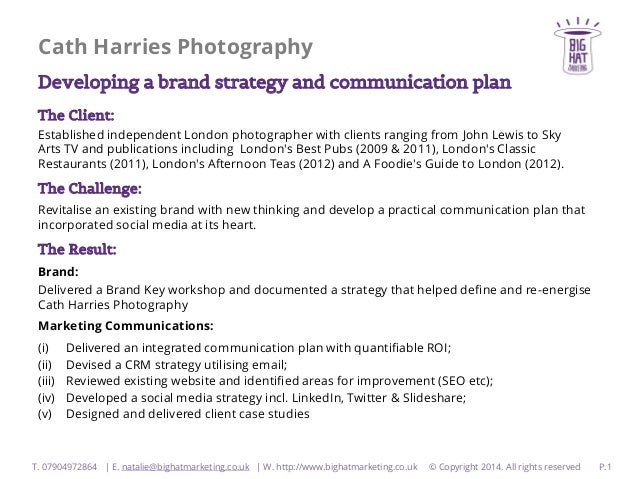 Cath Harries Photography Developing a brand strategy and communication plan The Client: Established independent London pho...