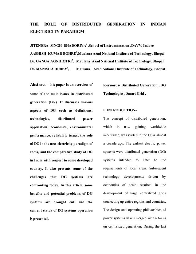 THE      ROLE            OF     DISTRIBUTED             GENERATION               IN        INDIANELECTRICITY PARADIGMJITEN...