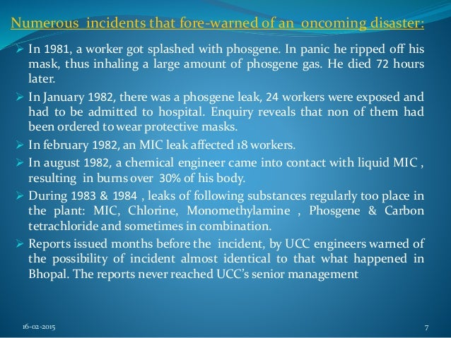a study of the bhopal gas tragedy essay View essay - research paper current issues from indm 4010 at ucm overcoming industrial safety problems: bhopal gas tragedy abstract the study focuses on the safety issues related to oil and.