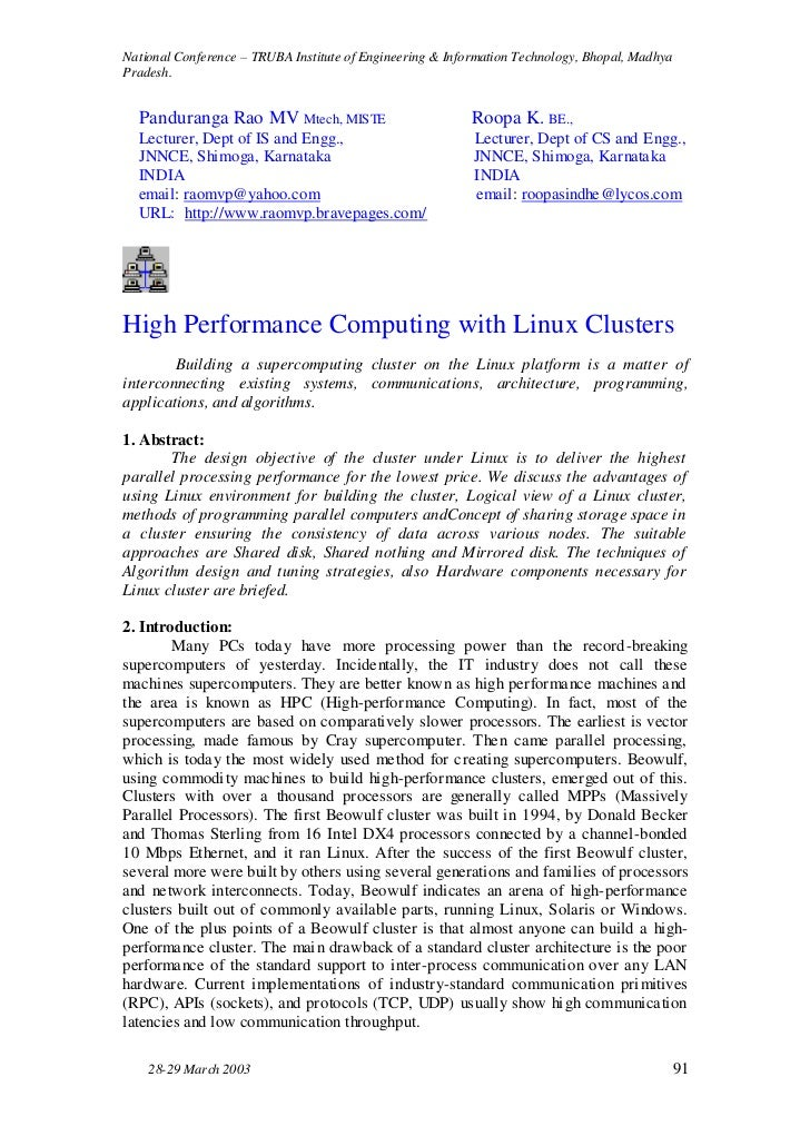 High Performance Computing with Linux Clusters. National Conference – TRUBA Institute of Engineering & Information Technology, Bhopal, Madhya Pradesh.