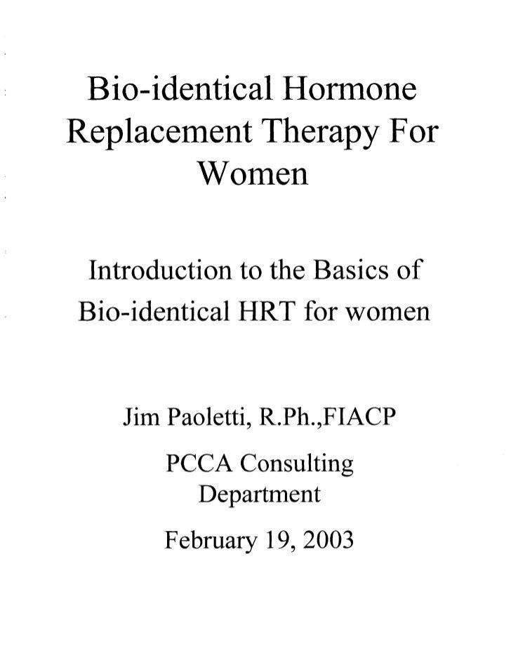 BHRT for the Pharmacist 2003
