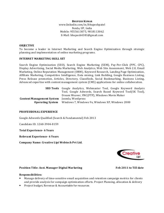 BHUPESH KUMAR www.linkedin.com/in/bhupeshpatel Noida, UP, India Mobile: 9555613075, 9818113062 E-Mail: bhupesh4381@gmail.c...