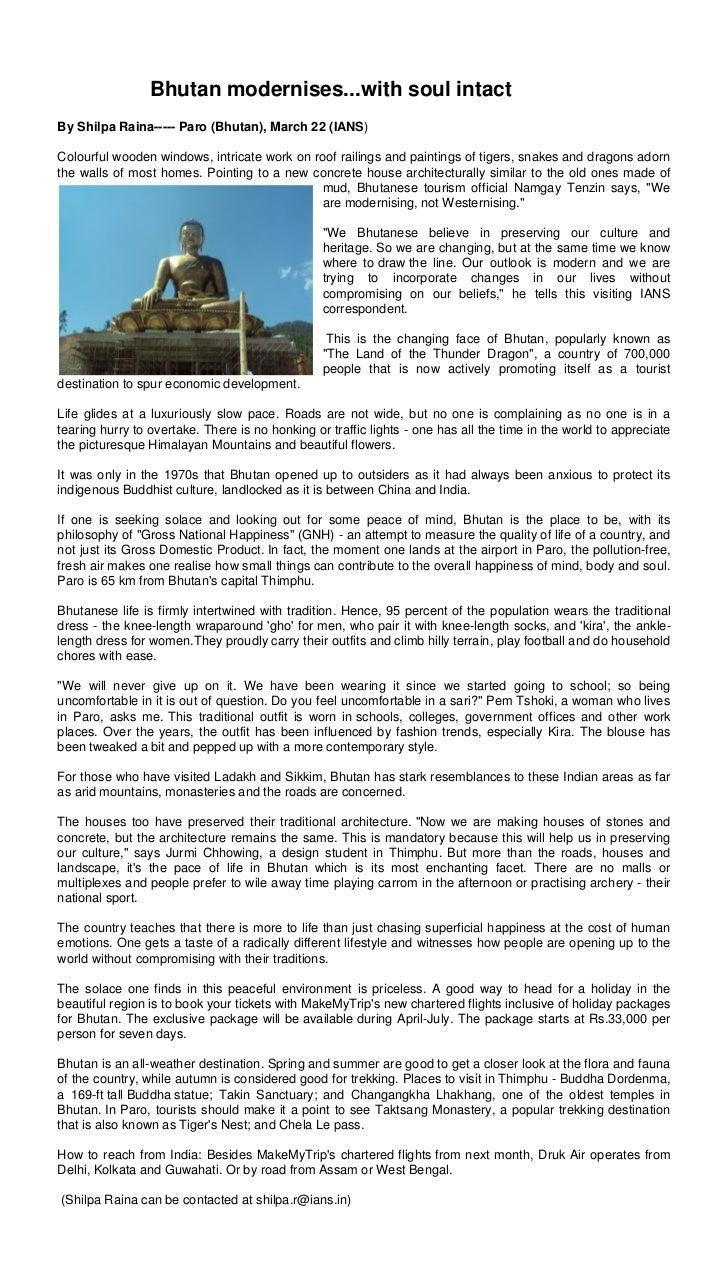 Bhutan modernises..with soul intact