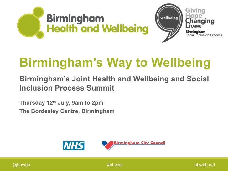 Birminghams Way to Wellbeing  Birmingham's Joint Health and Wellbeing and Social  Inclusion Process Summit  Thursday 12th ...