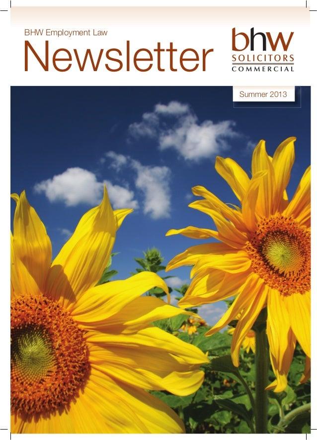 BHW Employment Law Newsletter Summer 2013