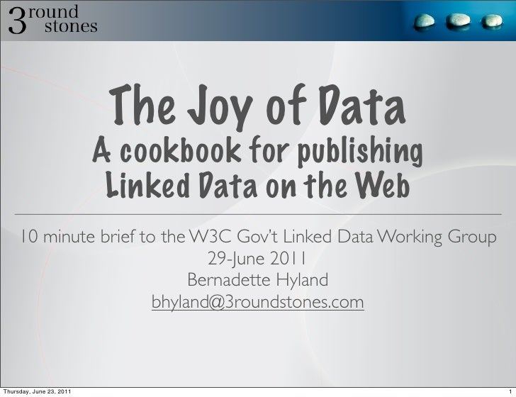 The Joy of Data                          A cookbook for publishing                           Linked Data on the Web     10...