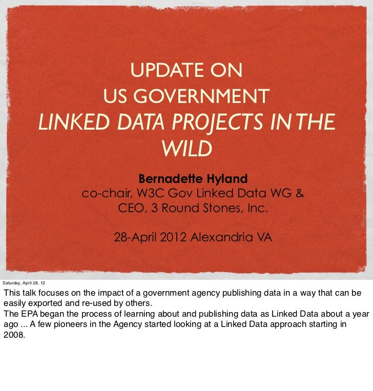 UPDATE ON                            US GOVERNMENT                  LINKED DATA PROJECTS IN THE                           ...