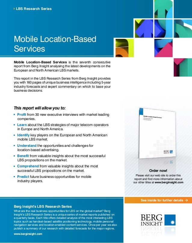 See inside for further details Mobile Location-Based Services Mobile Location-Based Services is the seventh consecutive re...