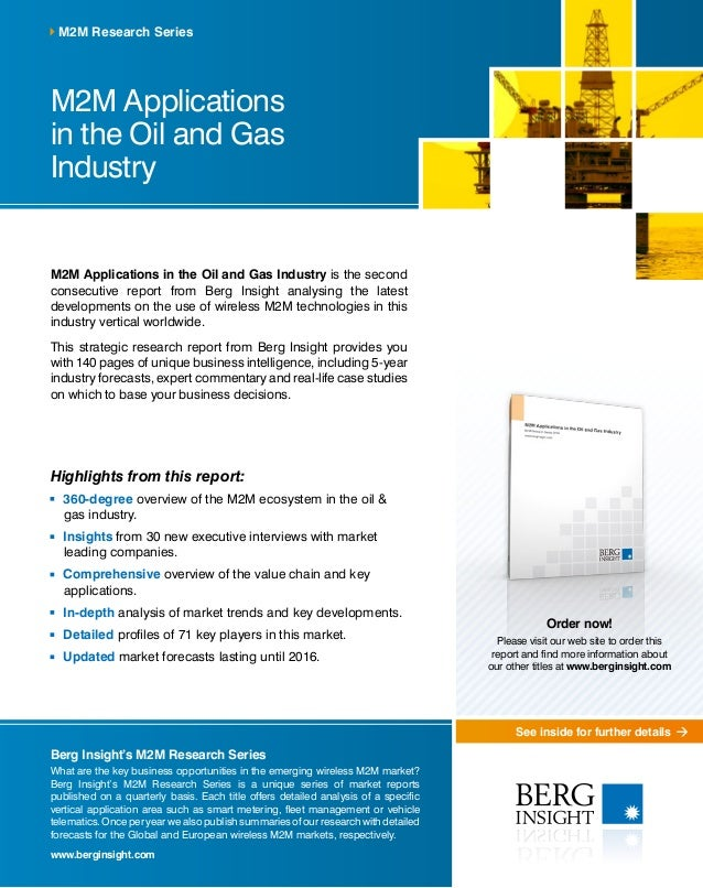 See inside for further details M2M Applications in the Oil and Gas Industry M2M Applications in the Oil and Gas Industry i...