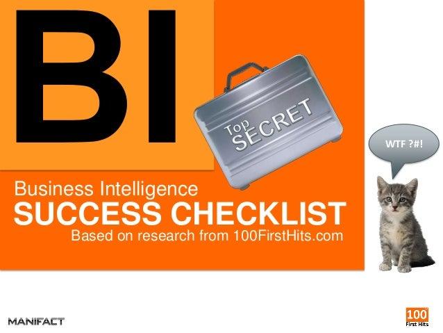 Business Intelligence Success Checklist 2013