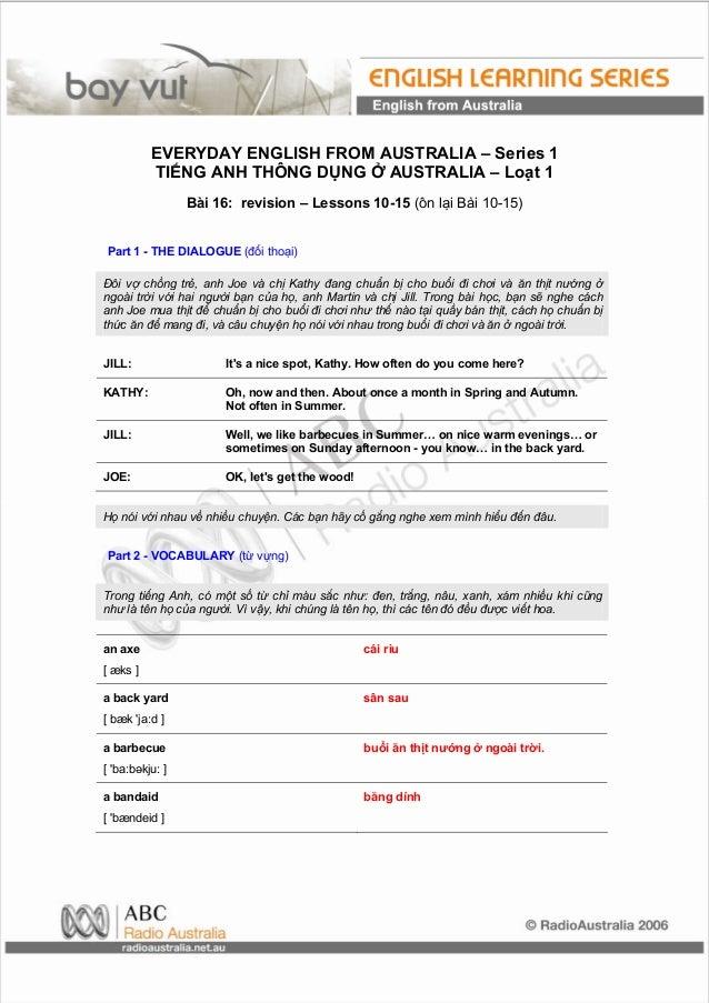 EVERYDAY ENGLISH FROM AUSTRALIA – Series 1          TIẾNG ANH THÔNG DỤNG Ở AUSTRALIA – Loạt 1                 Bài 16: revi...