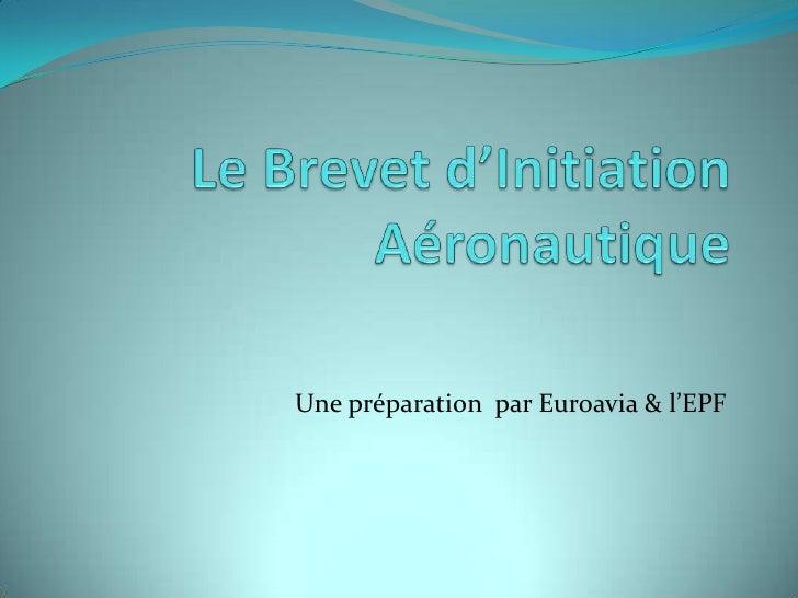 Le Brevet d'Initiation Aéronautique <br />Une préparation  par Euroavia & l'EPF<br />