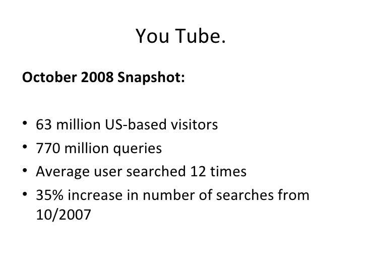 You Tube.  <ul><li>October 2008 Snapshot: </li></ul><ul><li> </li></ul><ul><li>63 million US-based visitors </li></ul><ul...