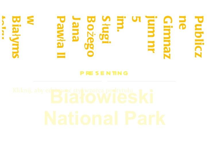 Publiczne Gimnazjum nr 5 im. Sługi Bożego Jana Pawła II  w Białymstoku presenting Białowieski  National Park
