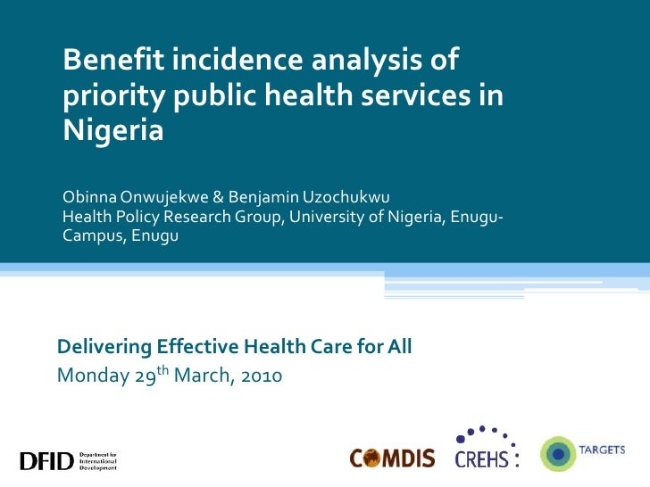 Benefit incidence analysis of priority public health services in Nigeria