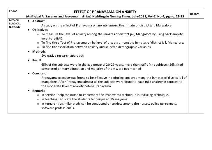SR. NO                                       EFFECT OF PRANAYAMA ON ANXIETY                                               ...