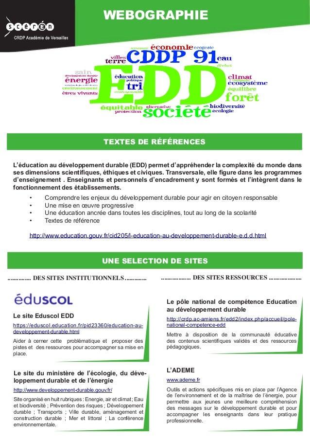 WEBOGRAPHIE                                            TEXTES DE RÉFÉRENCES  L'éducation au développement durable (EDD) pe...