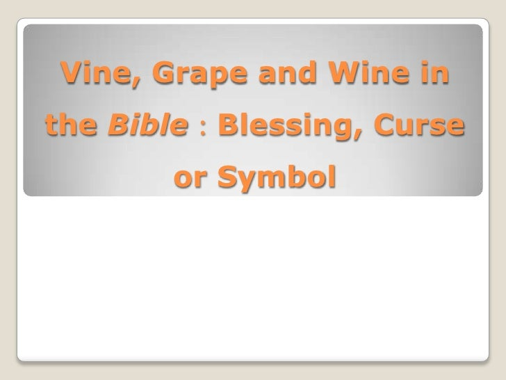 Vine, Grape and Wine in  the Bible:Blessing, Curse or Symbol<br />