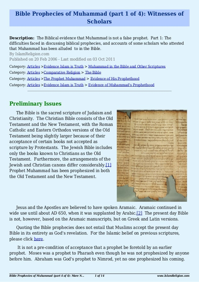 Bible Prophecies of Muhammad (part 1 of 4): Witnesses of                           ScholarsDescription: The Biblical evide...
