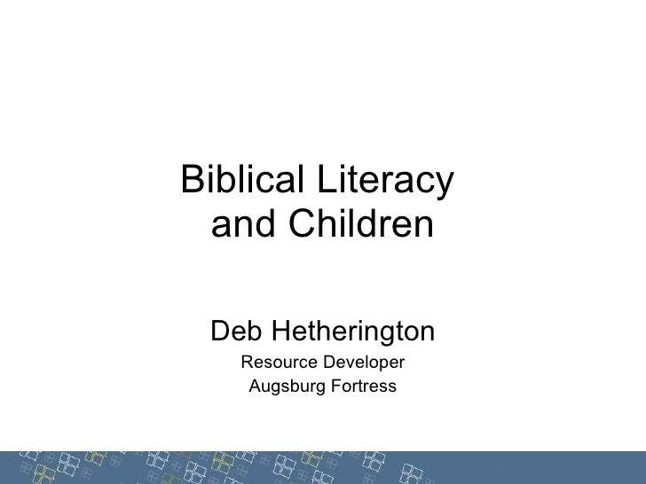 Biblical Literacy and Children