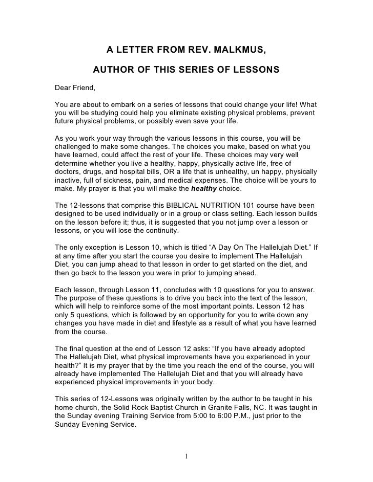 A LETTER FROM REV. MALKMUS,              AUTHOR OF THIS SERIES OF LESSONS Dear Friend,  You are about to embark on a serie...