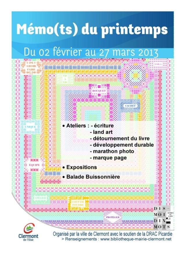 VilleClermont60 - Bibliothèques de Clermont - Les mémo(t)s du printemps