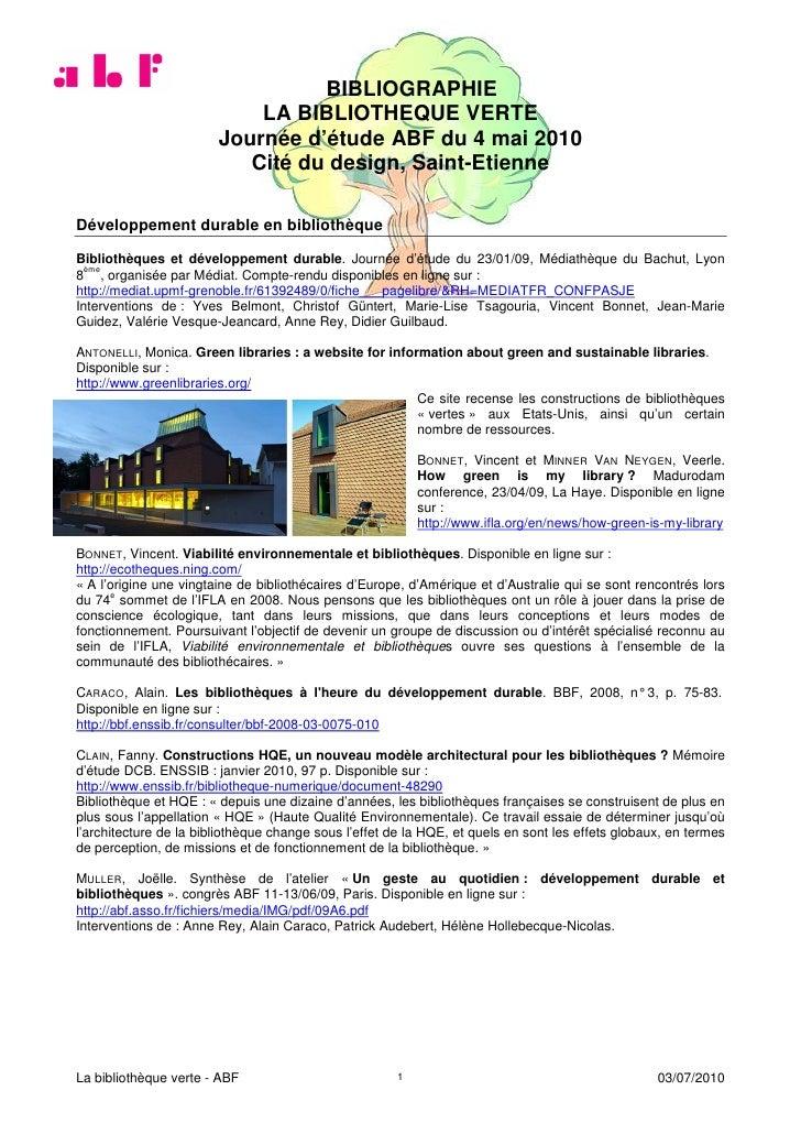 BIBLIOGRAPHIE                             LA BIBLIOTHEQUE VERTE                         Journée d'étude ABF du 4 mai 2010 ...