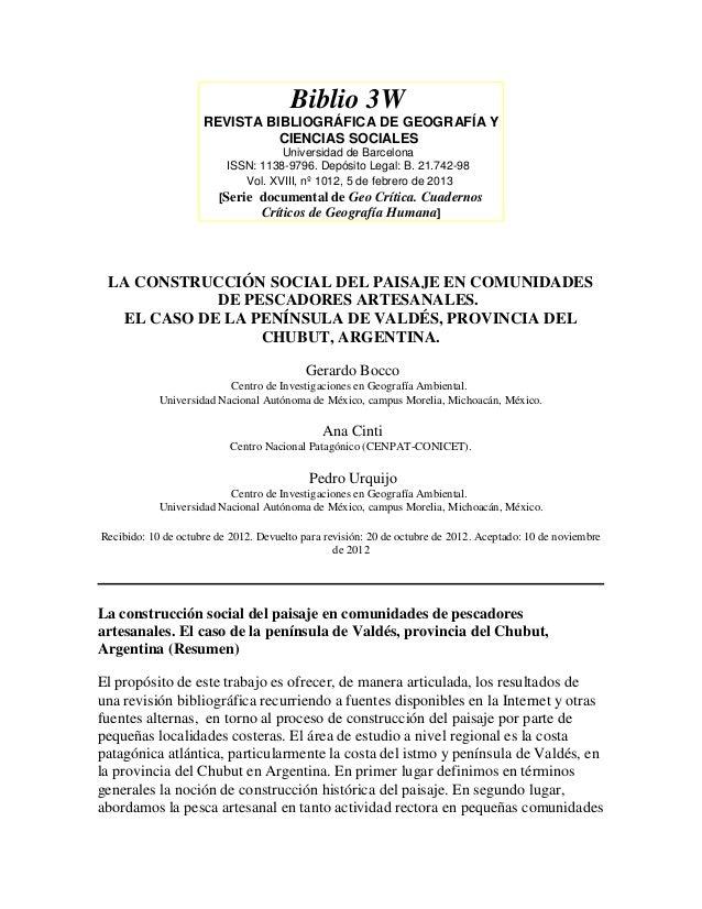 Biblio 3W                     REVISTA BIBLIOGRÁFICA DE GEOGRAFÍA Y                               CIENCIAS SOCIALES        ...