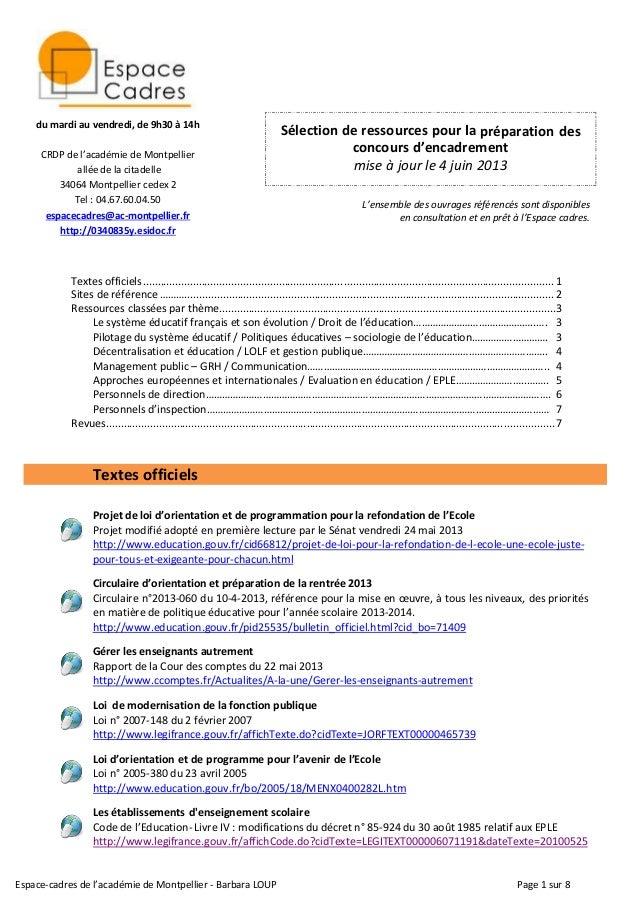 Espace-cadres de l'académie de Montpellier - Barbara LOUP Page 1 sur 8 Sélection de ressources pour la préparation des con...
