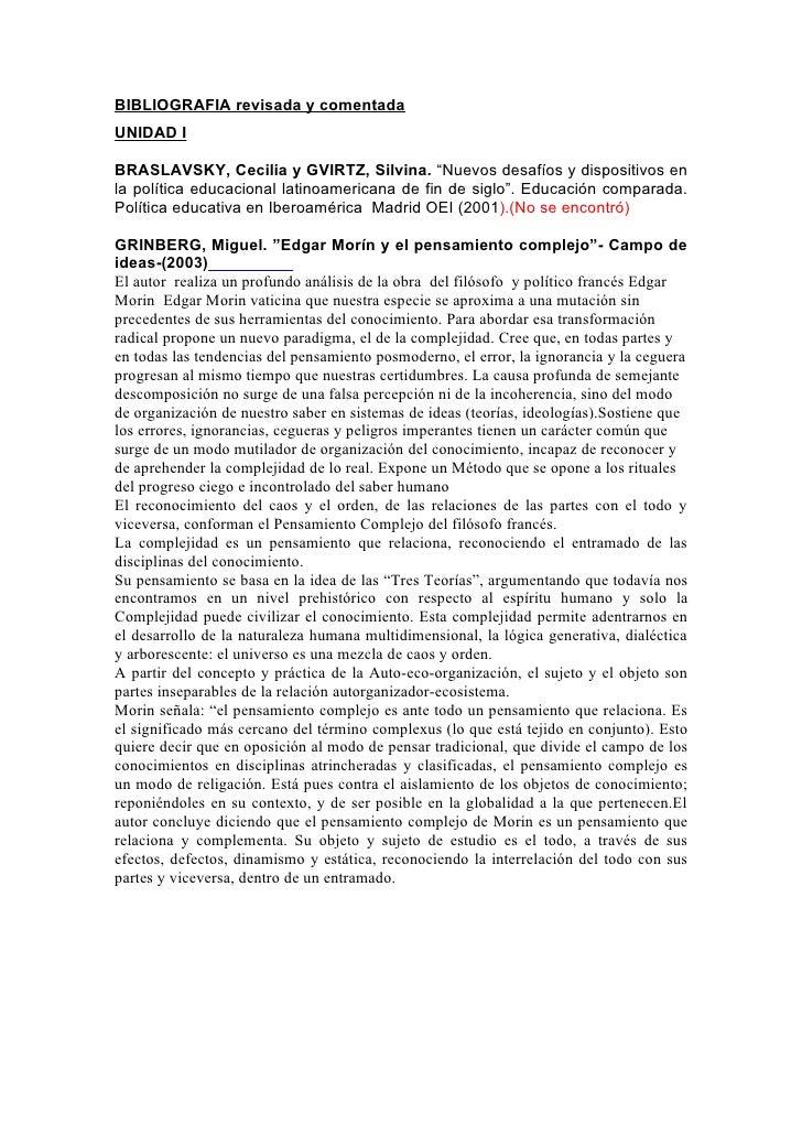 """BIBLIOGRAFIA revisada y comentada UNIDAD I  BRASLAVSKY, Cecilia y GVIRTZ, Silvina. """"Nuevos desafíos y dispositivos en la p..."""