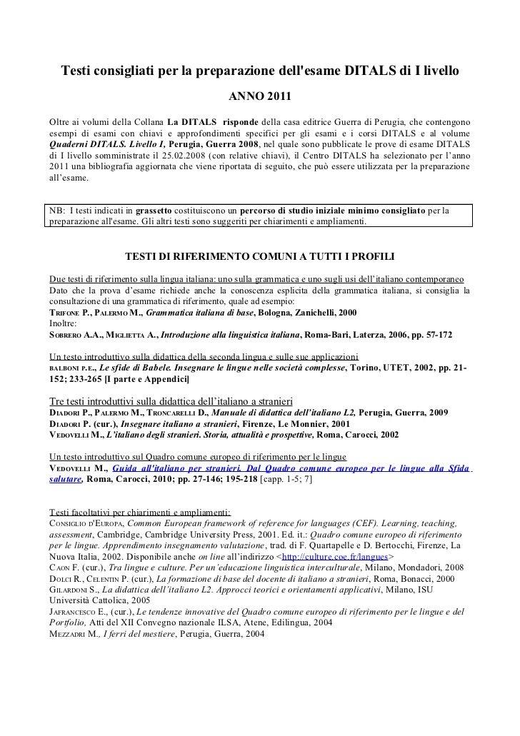 Testi consigliati per la preparazione dellesame DITALS di I livello                                               ANNO 201...