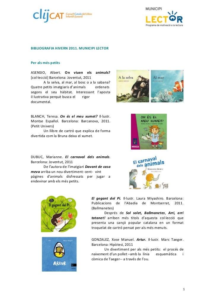 Bibliografia novembre 2011. Municipi Lector