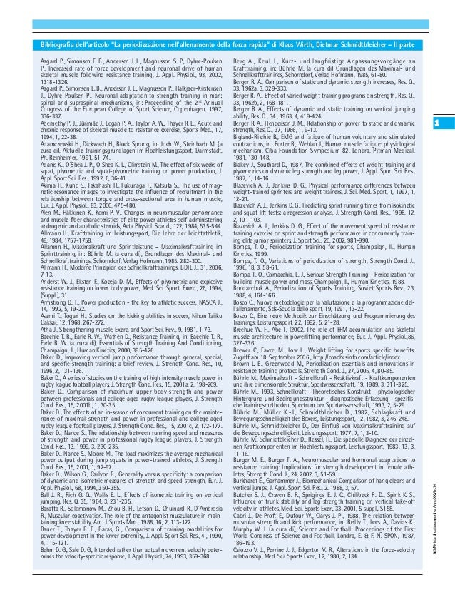 """Bibliografia dell'articolo """"La periodizzazione nell'allenamento della forza rapida"""" di Klaus Wirth, Dietmar Schmidtbleiche..."""